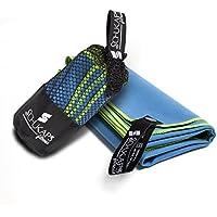 Toalla de microfibra 80x40cm Azul con bordado Verde compacta y de secado rapido con bolsa para viajes - Deporte Piscina Playa Yoga y Gimnasio - Schukaps Fitness -