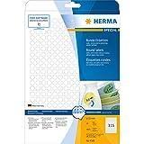 Herma 4385 Movables Etiketten rund, ablösbar, wieder haftend (ؘ˜ 10 mm auf DIN A4 Papier matt, weiß) 7.875 Stück auf 25 Blatt, bedruckbar