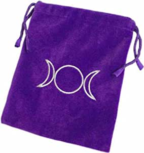 Velvet Feel Tarot Bag with Triple Moon in Purple