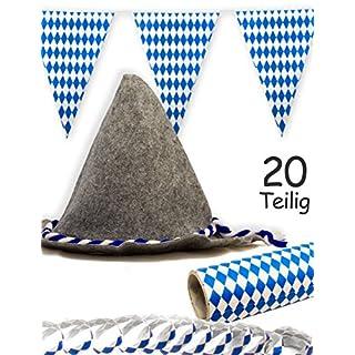 HomeTools.eu® - Oktoberfest Bier-Party Set | Bayern Filz-Hut Seppel-Hut, 18 Luftschlangen, 4m Wimpel-Kette | 20-teilig