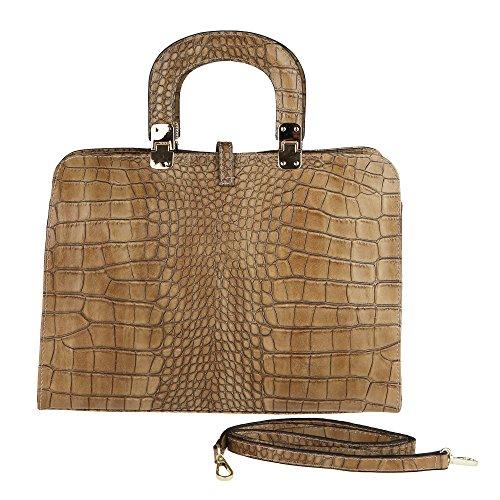 Chicca Borse Handbag Borsa a Mano da Donna con Tracolla in Vera Pelle Made in Italy Stampa Pitone 37x26x14 Cm Fango