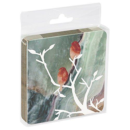 Tree-Free Greetings EC16140 EcoCoaster Getränke-Untersetzer mit Kork-Rückseite, in Geschenk-Acryl-Box, 4 Stück, 3,5 x 0,1 x 3,5 cm, Silhouette Bird (EC16140)