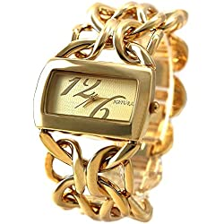 10fw675F NEU natur rechteckig gold Ton Zifferblatt Frauen natürlichen Marke Armband Armbanduhr