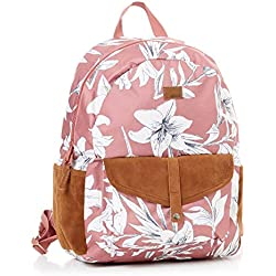 Roxy Carribean Mochila Mediana, Mujer, Azul/Rosa (Withered Rose Lily House), 18 l