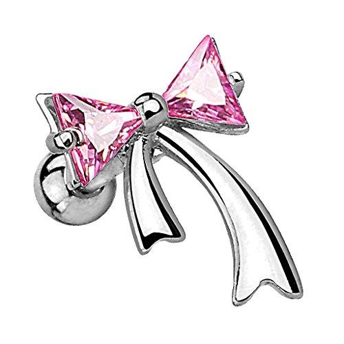 Piersando Tragus Helix Ohr Piercing Cartilage Knorpel Stab Stecker 316 L Chirurgenstahl Schleife mit Kristallen Strass Steinen Silber Pink