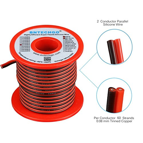 BNTECHGO 22 Gauge Flexible 2 Conductor Parallel Silicone Wire Spool Red Black High Resistant 200 deg C 600V for Single Color LED Strip Extension Cable Cord,model,lead wire 50ft Stranded Copper Wire -