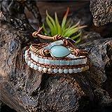 XBSZK Pulsera Pulsera de Piedra Natural con Abalorios de Cuero 3X, Pulsera Bohemia de Boho Chic Jewelry