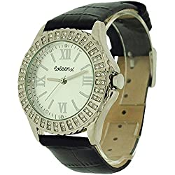 Coleen Stone Set Black Leather Strap Ladies Fashion Watch 283/5754