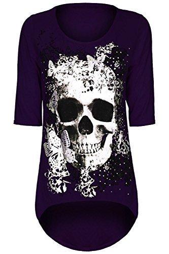 Plus Größe Drucken Tunika (Damen Schädel Schmetterling Aufdruck Dip Asymmetrischer Saum Hoch Niedrig Tunika Top T-shirt Übergröße - Lila, Plus Size (UK 20/22))
