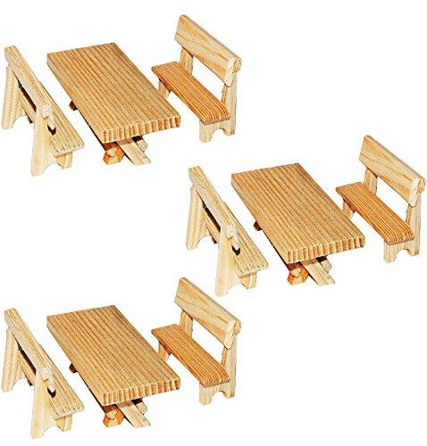 9 tlg. Set: Tisch + Bänke aus dunklem Holz - Miniatur / Maßstab 1:12 - z.B. als Gartenmöbel Möbel - Küchenbank / Gartenbank Sitzbank Küchenmöbel oder Garten / Zubehör...