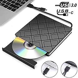 Lecteur CD/DVD Externe, MOSUO Lecteur Graveur Externe CD/DVD/-RW/ROM avec Interface USB 3.0 et Type C, Compatible avec Win10/8/7/XP/Vista/Linux/Macbook Air/Pro, Ordinateur Portable, iMac, PC