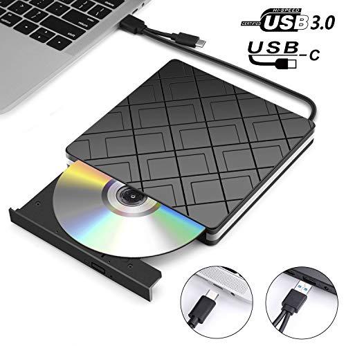 D Laufwerk CD Brenner USB 3.0 und Type C, Slim Tragbar Externe CD DVD RW Player Writer Superdrive für Laptop, Desktop, Mac OS, MacBook Pro, Windows 10/8/7/XP/Vista and Linux ()