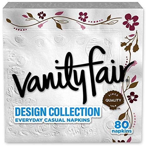 Vanity Fair Design Collection Napkin, 80 Count, Printed Napkin -