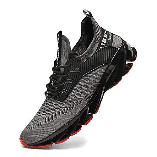FUSHITON Sportschuhe Herren Laufschuhe Damen Turnschuhe Freizeitschuhe Atmungsaktiv Sneakers Mode Straßenlaufschuhe, 0311grau, 41 EU