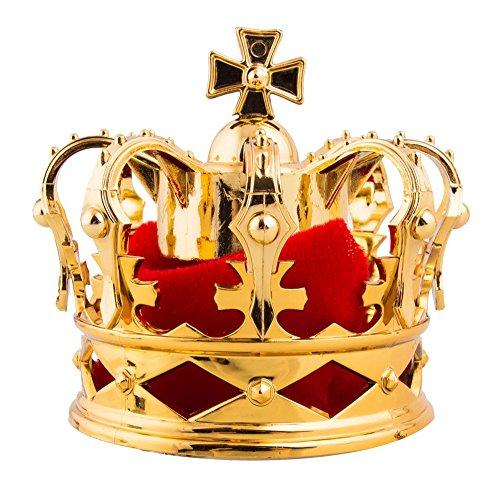 (Das Kostümland Mini König Krone mit Kreuz und Stoff - Gold Rot - Karneval Fasching Accessoire Mittelalterfest Königskrone)