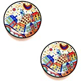[Sponsored]Emerald Creations Decorative Wall Plate 8inch, Colorful Handcrafted Plate For Home Decor, Set Of 2 Plates, Specially Designed For Kids Room