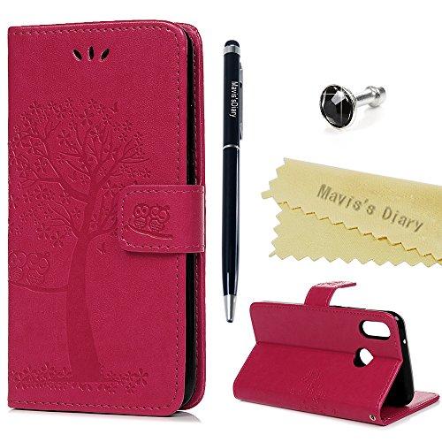 Huawei P20 Lite Hülle Case Mavis's Diary Eule Baum Muster Leder Tasche Handyhülle Flip Cover Schutzhülle Lederhülle Skin Ständer Schale Handytasche Bumper Magnetverschluss Klappbar Ledertasche-Roserot