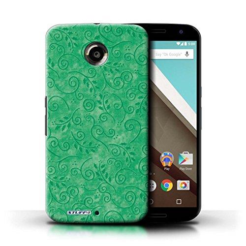 Kobalt® Imprimé Etui / Coque pour Motorola Nexus 6 / Rouge conception / Série Motif Feuille Remous Vert