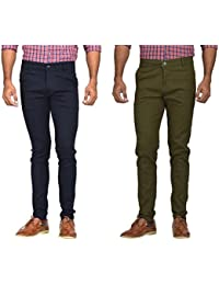 Kushsection Blue Trousers & Green Trousers Cotton Trousers Combo Solid Trousers F13S14 (Pack Of 2 Casual Trousers)