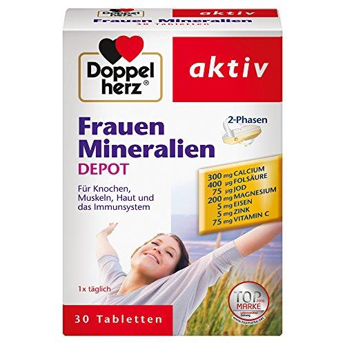 Doppelherz Frauen Mineralien DEPOT - Nahrungsergänzungsmittel mit vielen Mineralien und Vitaminen - Tabletten mit 2-Phasen-System - 1 x 30 Tabletten