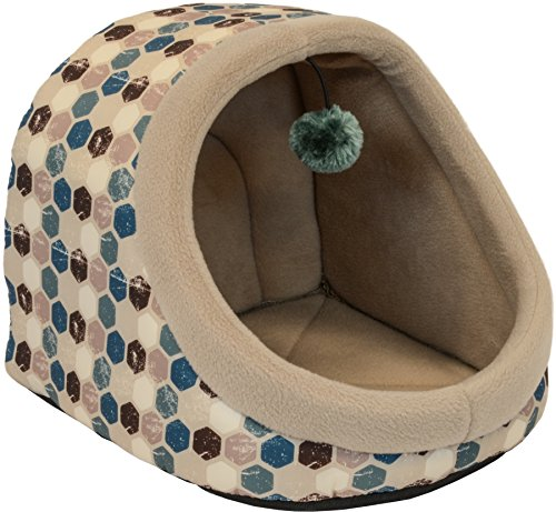 Teal Dot (Dallas Manufactuiring Co. Katzenbett mit Kapuze und Spielzeug, 35,6 cm, X-Small, Teal Geo Dot)