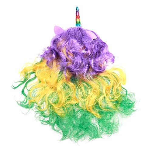 Peluca de pelo largo rizado de unicornio de Frcolor Arcoíris para disfraz, fiesta de Halloween, peluca completa para mujeres y niñas (tipo C)