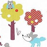 Tela mundo animal salvaje (edición de Navidad) - azul celeste, rojo, Burdeos, gris claro y anís sobre un fondo blanco como la nieve - 100% algodón suave | ancho: 155 cm (1 metro)