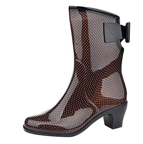 LvRao Frauen Boots Regen Schuhe Gummistiefel wasserdichte Stiefeletten Glatten Gummi Lederstiefel Leder Stiefel Braun Etikett L, EU 38 (Frauen Regen-boot-schuhe)