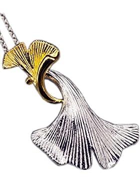 NicoWerk Silberkette mit Anhänger Ginkoblatt Halskette Damen 925 Silber Kette Schmuck SKE143