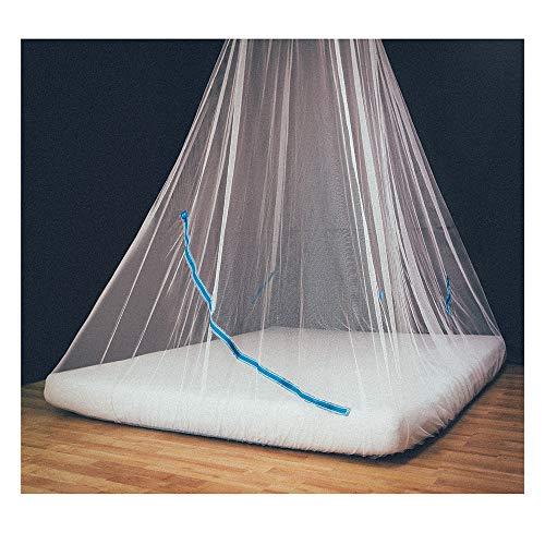 GlisGlis Blue Pyramide - Moskitonetz in Pyramidenform, bereits imprägniert für tropische Gebiete mit Malaria, Gummizug im Boden, Eingang mit sicherem Reißverschluss, inkl. Beutel | Mückennetz, Doppelbett