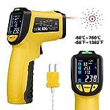URCERI Laser Infrarot Thermometer IR-818, IR kontaktfreies Thermometer -50°C bis 750°C mit K-Typ Thermoelement -50°C bis 850°C, LCD-Display zur Temperatur- und Feuchtigkeitsmessung