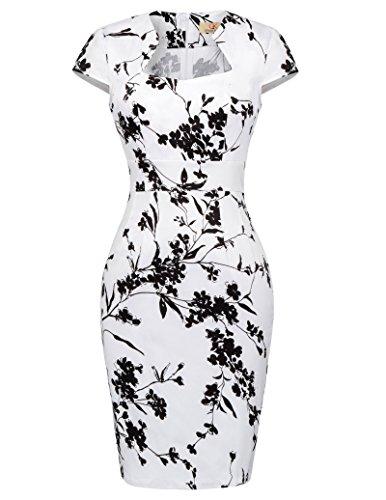 GRACE KARIN büro Kleid Damen Bodycon Kleid Knielang Partykleid etuikleid ballkleid XL CL7597-19