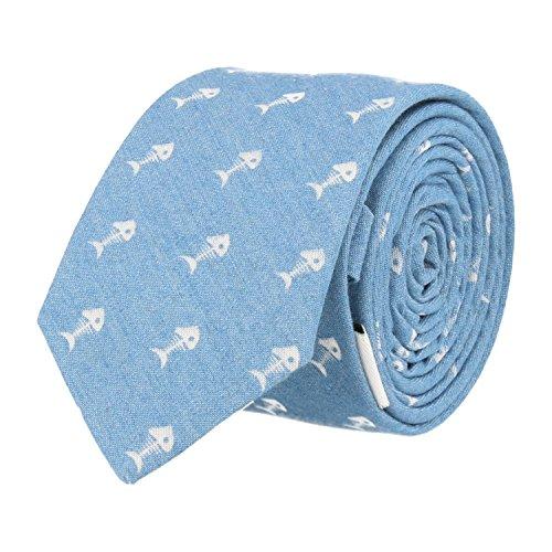 Snobbop delgado corbata azul claro algodón Fishbone