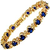 Jewellery Round Cut Multi Color Gemstones Fine CZ 18K Yellow gold Plated [18cm/7inch] Tennis Bracelet Simple Modern Elegance Prong Setting [Free Jewelry Pouch]