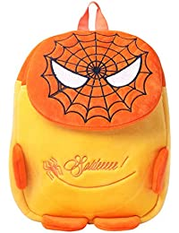 SureDeal Spider Man Cute Soft Toy School Bag For Kids (Orange, Yellow)