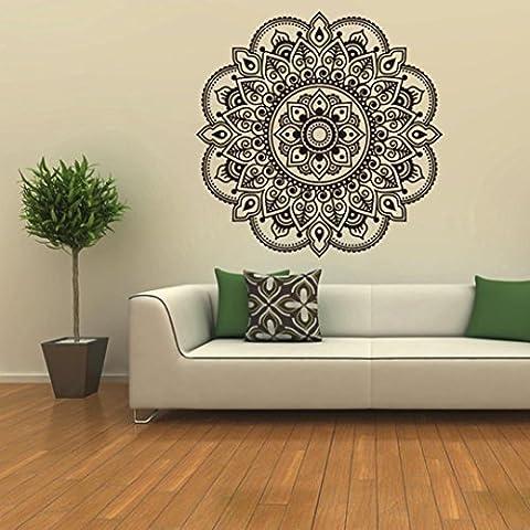 Ouneed® Wandaufkleber Wandtattoo Wandsticker , Mandala Blume Indische Schlafzimmer Wohnzimmer Wandaufkleber Aufkleber Kunst Mural Home (Schwarz)