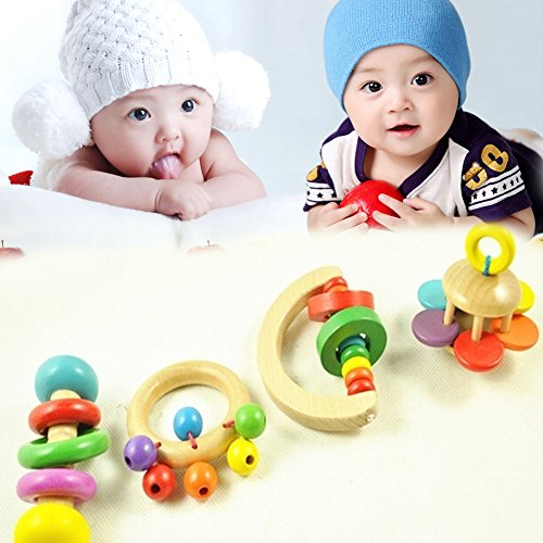 Hinmay Baby Rattle, Wooden Handle Multi Textured Rattle Bell with Music for Infant Baby, Super Shaker Rattle (Random Patton)