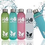 Calintio Designer Trinkflasche aus Glas 550ml & 750ml - BPA frei, auslaufsicher und perfekt für unterwegs - hochwertige Glasflasche mit Neopren Schutzhülle (750ml, White)