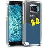 kwmobile Étui rigide coque pour Samsung Galaxy S7 avec du liquide - coque rigide couvercle de batterie étui coque de protection eau avec Design canards en jaune bleu transparent