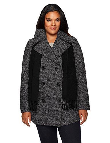 London Fog Damen Double Breasted Plus Size Peacoat with Scarf Caban-Jacke, schwarz/weiß, 3X - Plus Size Peacoats