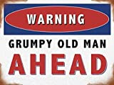 Warning, grumpy old man ahead. Traffic sign funny. Birthday or fathers day present idea for dad or grandad. For house, home, driveway, shed, garage, kitchen etc. Christmas Xmas Gift. Medium Metal/Steel Wall Sign
