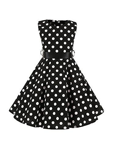 VKStar® Retro 50er 60er Kinderkleid Polka Dots Petticoat Punkte Kommunionkleid Vintage Mädchen Rockabilly Kleid Schwarz