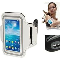 TechExpert Brassard sport tour de bras blanc pour Samsung Galaxy SIV mini S4 mini/i9190 idéal pour les sportifs, course à pied ou salle de sport avec pochette pour clés