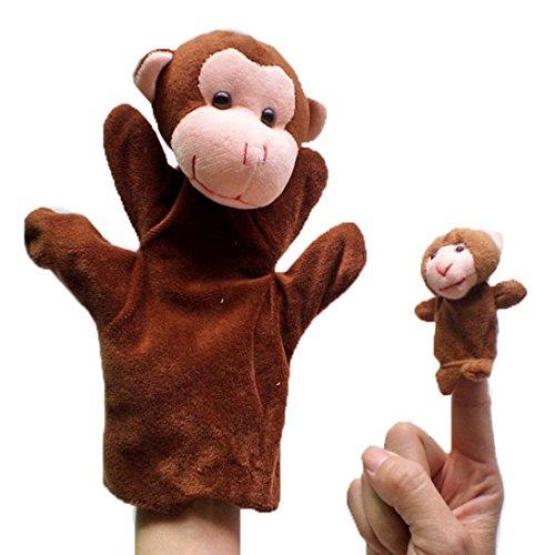 HappyCherry - Handpuppe Fingerpuppe Handspielpuppe Fingerpuppen-Set Fingerpuppen-Handschuh Tierpuppen Tierfiguren - Affe
