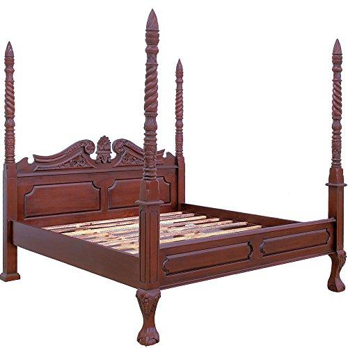 Antikes Bett (MOREKO Bett massiv Mahagoni Holzbett 180 x 200 cm Antik-Stil)