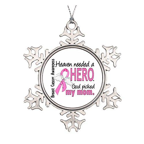 Hero Mom Brustkrebs Keramik rund Weihnachten Ornament ()
