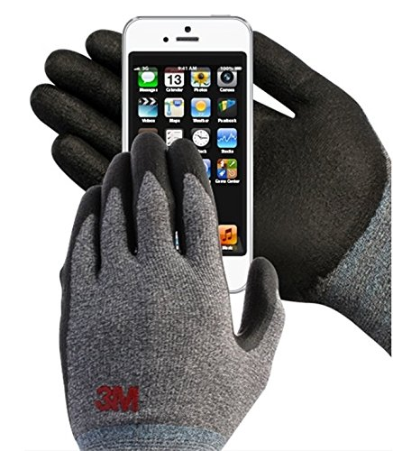 3M Comfort Grip Nitrile Foam Work Gloves, Super Grip 200, General Use / for Safety, Texting, Smartphone -5 Pairs- (Large)