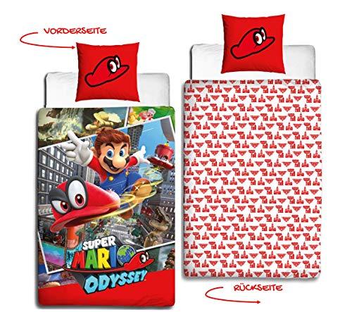 Nintendo Teenager-Bettwäsche in Flanell · Kinderbettwäsche für Mädchen & Jungen · Super Mario Odyssey Wende Motiv · Kissenbezug 80x80 + Bettbezug 135x200 cm - 100% Baumwolle