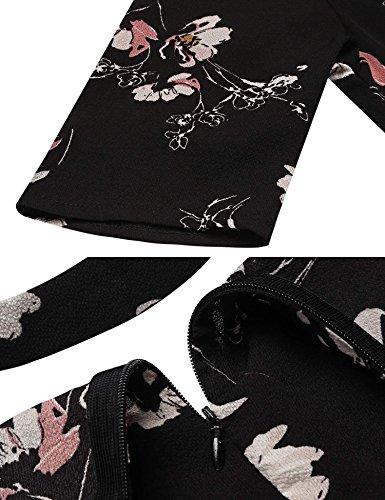 Damen Vintage A-Linie Blumenkleid Halbarm mit Choker Cocktailkleid mit V-Ausschnitt Partykleid Abendkleid Knielang Schwarz