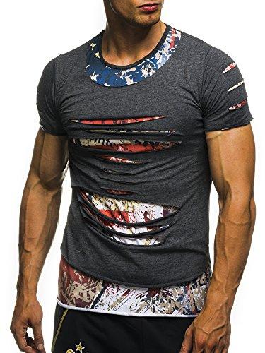 David&Gerenzo Herren T-Shirt oversize zerrissen 2 in 1 Shirt 1-10383 Anthrazit